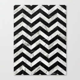 Marble Chevron Pattern 2 - Black and White Canvas Print