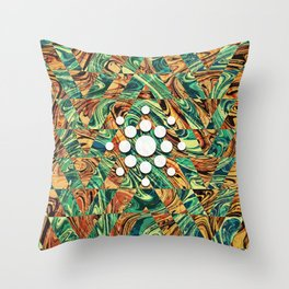Geometric Abstract Painting - Fluid Painting - Brown, Blue Abstract - Marbling Art 2 Throw Pillow