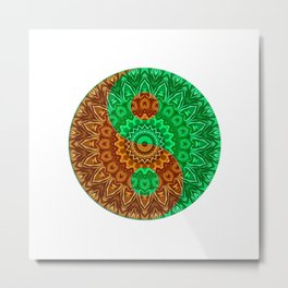green-brown ying yang Metal Print