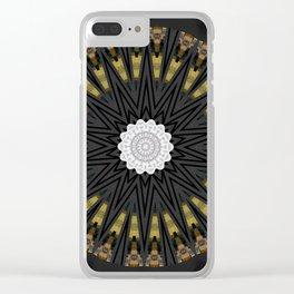 Dark Black Gold & White Marble Mandala Clear iPhone Case