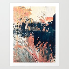 Hidden Gem [1]: an abstract mixed media piece in pink, blue, gold and white Art Print