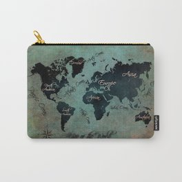 World Map text Carry-All Pouch