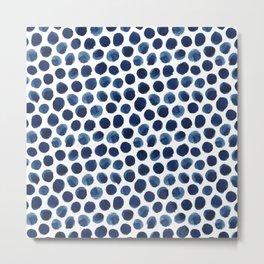 Large Indigo/Blue Watercolor Polka Dot Pattern Metal Print