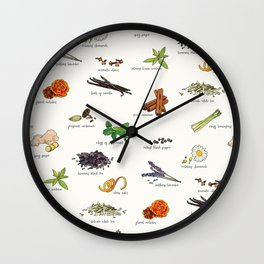 Tea Ingredients Medley Wall Clock