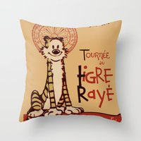 hobbes Throw Pillows featuring Le Tigre Rayé by Arinesart