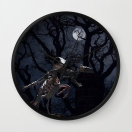 Raven and Rat Skeleton in Moonlight - Halloween Wall Clock