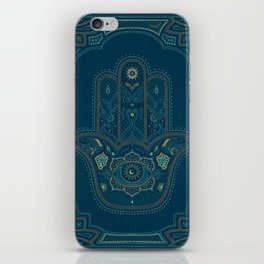 Hamsa Hand in Blue and Gold iPhone Skin