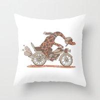 motorbike Throw Pillows featuring Giraffe on a motorbike by schäferhäst