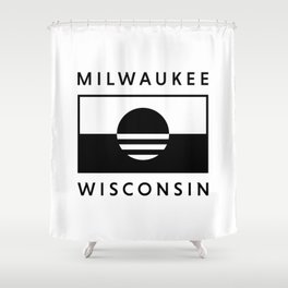 Milwaukee Wisconsin - White - People's Flag of Milwaukee Shower Curtain