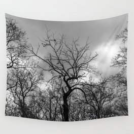 Witchy black and white tree Wall Tapestry