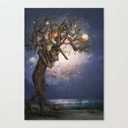 On the river bank Canvas Print