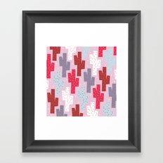 Sweet cactus pattern Framed Art Print
