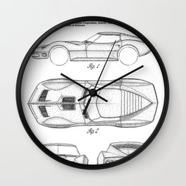 Classic Car Patent - American Car Art - Black And White Wall Clock