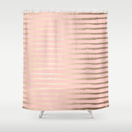 Abstract Stripes Gold Coral Light Pink Shower Curtain