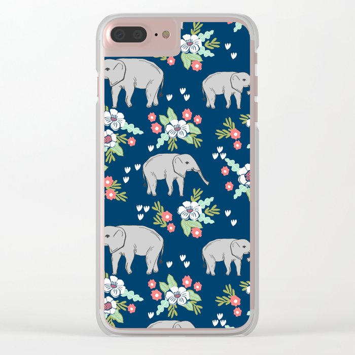 Elephants pattern navy blue with florals cute nursery baby animals lucky gifts Clear iPhone Case
