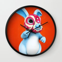 Lucha Rabbit-Blue Brother Wall Clock