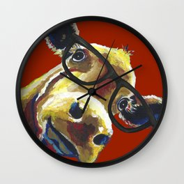 Red Cow Glasses, Cute Cow With Glasses Wall Clock