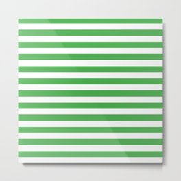 Even Horizontal Stripes, Green and White, M Metal Print