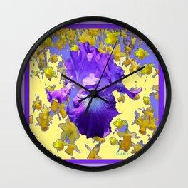 Colorful Amethyst Purple Iris  Daffodil CreamyArt Wall Clock