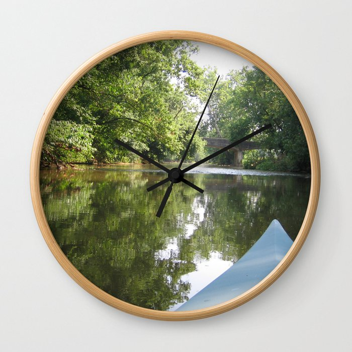 Kayaking down river Wall Clock