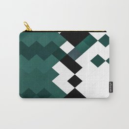 Emerald Green White Black Geometrical Pattern Carry-All Pouch