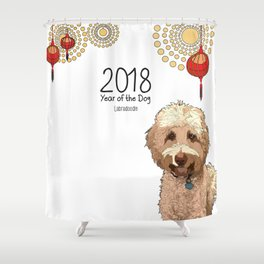 Year of the Dog - Labradoodle Shower Curtain