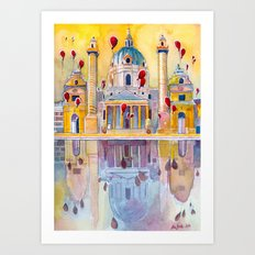 Vienna, famous Karlskirche saint Charles Church Art Print