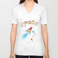 rocket V-neck T-shirts featuring Rocket by Dorrith Rem
