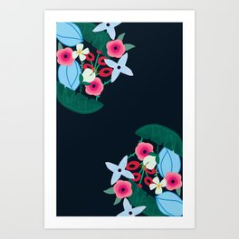 Midnight blue and pink floral print Art Print