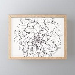 Ink Illustration of a Dahlia Framed Mini Art Print