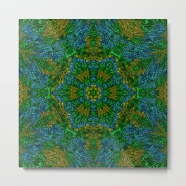 Yellow Green and Blue Kaleidoscope Metal Print