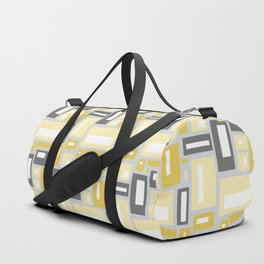 Simple Geometric Pattern in Yellow and Gray Duffle Bag
