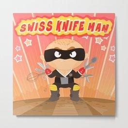 Swiss Knife Man Metal Print