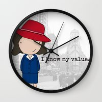 agent carter Wall Clocks featuring Agent Carter by Jen Talley