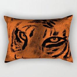 Tiger with Orange Background Rectangular Pillow