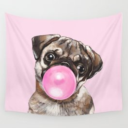 Pug with Pink Bubble Gum Wall Tapestry