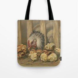 Vintage Chicken & Baby Chicks Painting (1891) Tote Bag