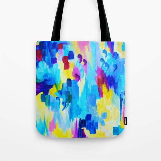 DONT QUOTE ME, Revisited - Bold Colorful Blue Pink Abstract Acrylic Painting Gift Art Home Decor  Tote Bag