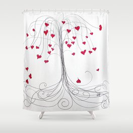 Tree of Hearts Shower Curtain