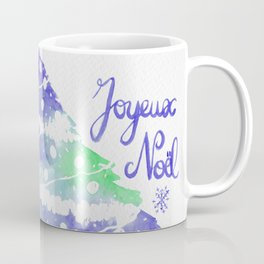 Christmas Card, Joyeux Noël in Blue and Green Coffee Mug