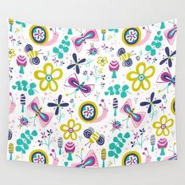 Happy Critters White Wall Tapestry