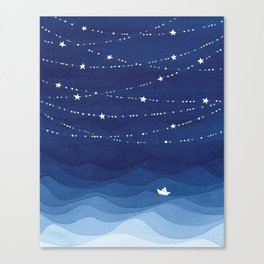night sky, ocean painting Canvas Print