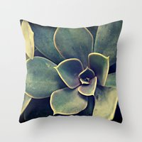succulent Throw Pillows featuring Succulent by KunstFabrik_StaticMovement Manu Jobst