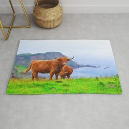 Highland cow watercolor painting #9 Rug