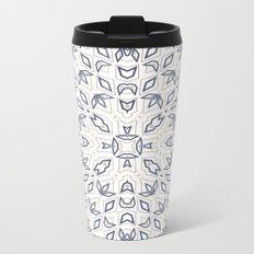 Pattern, geometric 1, white, blue Metal Travel Mug