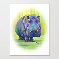 hippo Canvas Prints featuring Hippo by Debbie Weeks