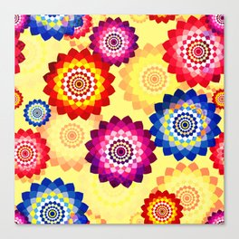 Seamless floral background with mosaic multi-colored aster flowers Canvas Print