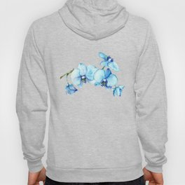 Blue Orchids - Watercolor Botanical Art Hoody