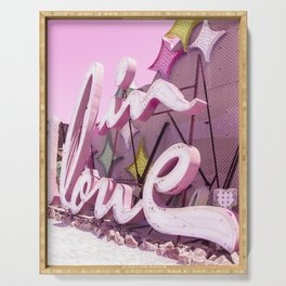 "Pink ""In Love"" Sign at the Neon Museum in Las Vegas, Nevada Serving Tray"