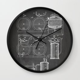 Brewery Patent - Beer Art - Black Chalkboard Wall Clock